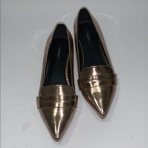 Metallic Rose Gold Loafers